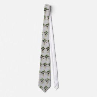 Silver Cross With Purple Flowers Tie