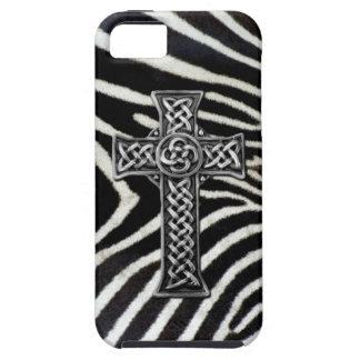 Silver Cross Zebra Stripe Print iPhone Case
