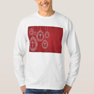 Silver crosses and filigree eggs on red T-Shirt
