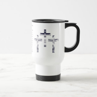 Silver Crosses on  and scripture cover this mug... 15 Oz Stainless Steel Travel Mug