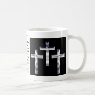 Silver Crosses on  and scripture cover this mug... Classic White Coffee Mug