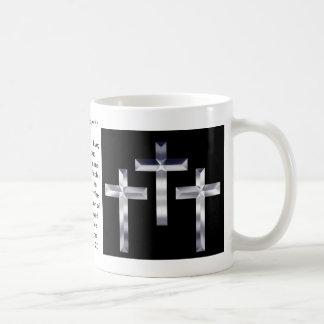 Silver Crosses on  and scripture cover this mug... Coffee Mug