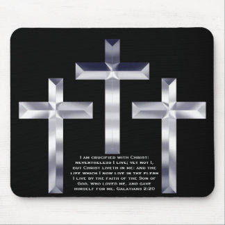 Silver Crosses on black mouse pad with Scripture.
