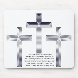 Silver Crosses on mouse pad with Scripture.