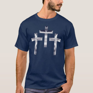 Silver Crosses on shirt with Scripture on back