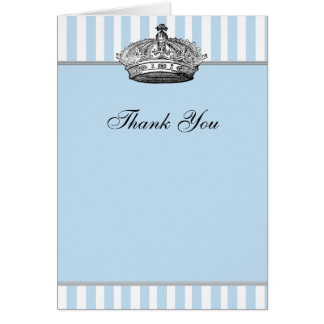 Silver Crown Baby Blue Prince Thank You Cards