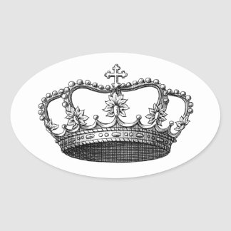 Silver Crown Gift Item You Personalize Oval Sticker