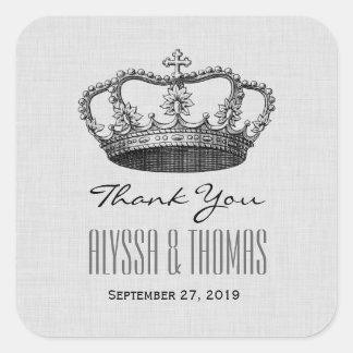 SILVER Crown Thank You Bride Groom Wedding V02 Square Sticker