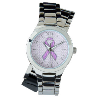 Silver Crystal Pink Ribbon Awareness Knit Dial Wrist Watches
