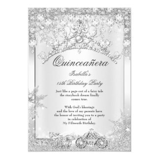 Silver Crystal Quinceanera 15th Winter Carriage Card