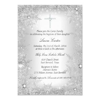 Silver Crystal Snowflake Baptism/Christening Card