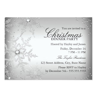 Silver Crystal Snowflake Christmas Dinner Party Card