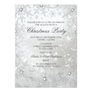 Silver Crystal Snowflake Christmas Party Invite