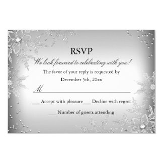 Silver Crystal Snowflake Christmas Party RSVP 3.5x5 Paper Invitation Card