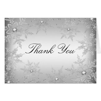 Silver Crystal Snowflake Christmas Thank You Card