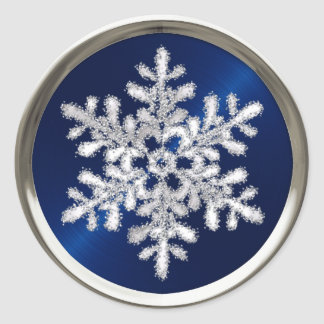 Silver Crystal Snowflake on Navy Blue Seal