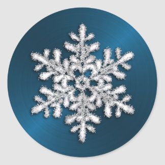 Silver Crystal Snowflake on Teal Stickers