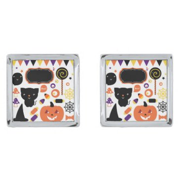Halloween Themed Silver cufflinks with halloween theme
