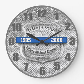 Silver Custom Blue Line Police Officer Retirement Large Clock