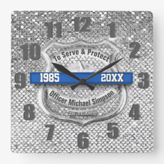 Silver Custom Blue Line Police Officer Retirement Square Wall Clock