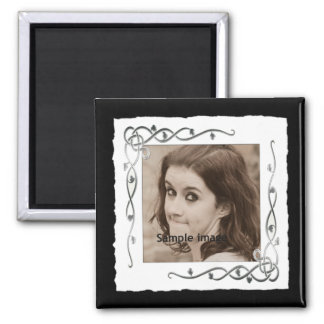 Silver Custom Frame Instagram Photo Make Your Own 2 Inch Square Magnet