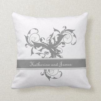 Silver custom  Leaf Wedding gift Throw Pillow