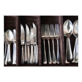Silver Cutlery in Draw Photography Poster Photograph