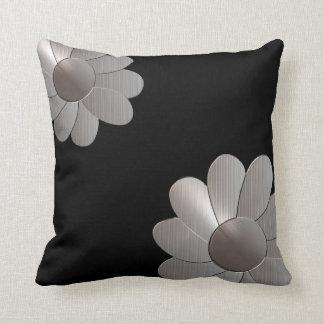 Silver Daisy Black American MoJo Pillows