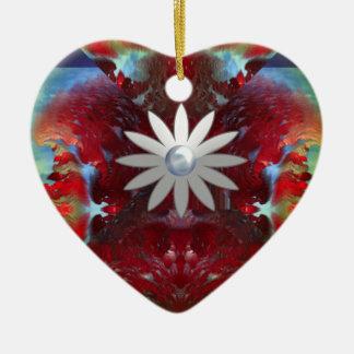 silver daisy fractal heart ceramic ornament