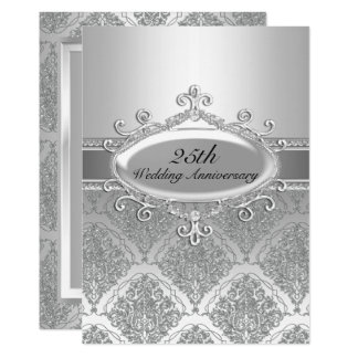 Silver Damask 25th Wedding Anniversary Invite