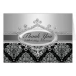 Silver Damask 25th Wedding Anniversary Thank You Stationery Note Card