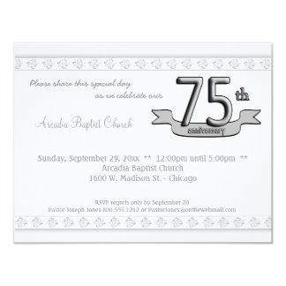 """Silver Damask 75th Anniversary Celebration Invite 4.25"""" X 5.5"""" Invitation Card"""