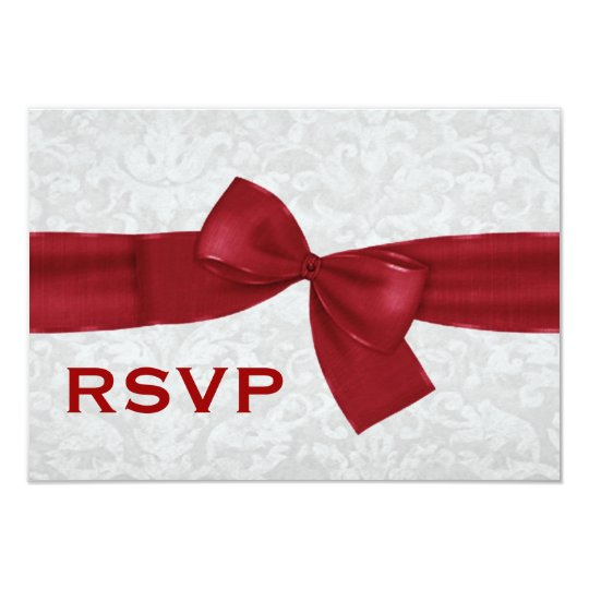 Silver Damask and Deep Red Bow RSVP V09 Card