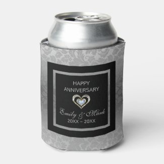 Silver Damask And Hearts- Wedding Anniversary