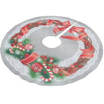 Silver Damask and Lace with Christmas Wreath Brushed Polyester Tree Skirt