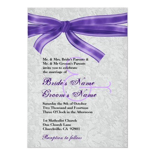 Silver Damask and Purple Bow Wedding Card