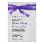 Silver Damask and Purple Bow Wedding Personalized Invite