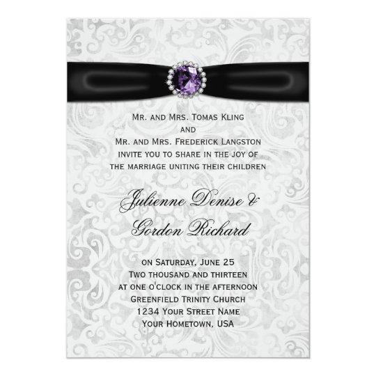 97e439f4b3e Silver Damask Black Ribbon Purple Jewel Wedding Invitation