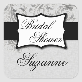 Silver Damask Bridal Shower Stickers