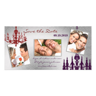 Silver Damask Chandelier Red & Plum Save The Date Card