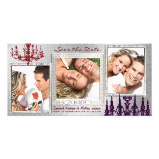 Silver Damask Chandelier Red Plum Save The Date Photo Cards