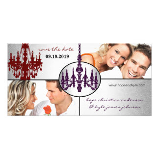 Silver Damask Chandelier Save The Date Photo Card