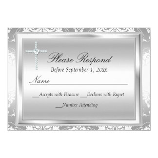 Silver Damask & Cross Baptism RSVP Reply 4.5x6.25 Paper Invitation Card