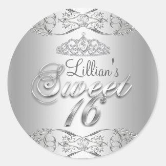 Silver Damask & Diamond Tiara Sweet 16 Sticker
