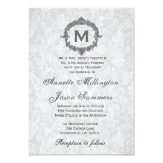 Silver Damask Gray Vintage Frame Monogram Wedding 5x7 Paper Invitation Card