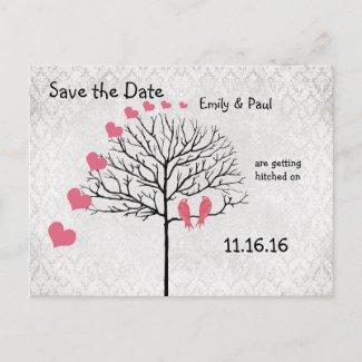 Silver Damask Honeysuckle Birds Save the Date postcard