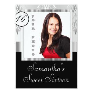 Silver damask instagram  sweet sixteen card