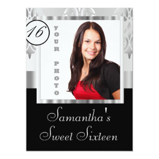 Silver damask instagram  sweet sixteen card