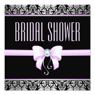 Silver Damask, Lilac Bow & Diamond Bridal Shower Card