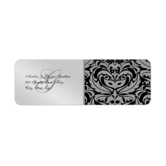 Silver Damask Masquerade Halloween Address Labels